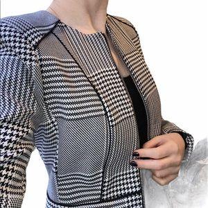 H&M full zip houndstooth blazer jacket 4